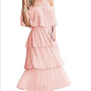 Off The Shoulder Ruffles Chiffon Midi Dress pink